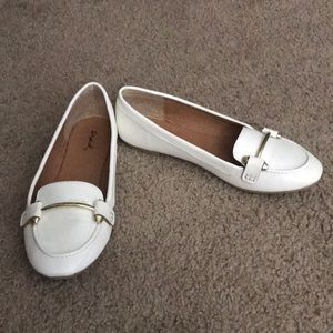 Qupid Faux Leather White Loafers with Gold Detail